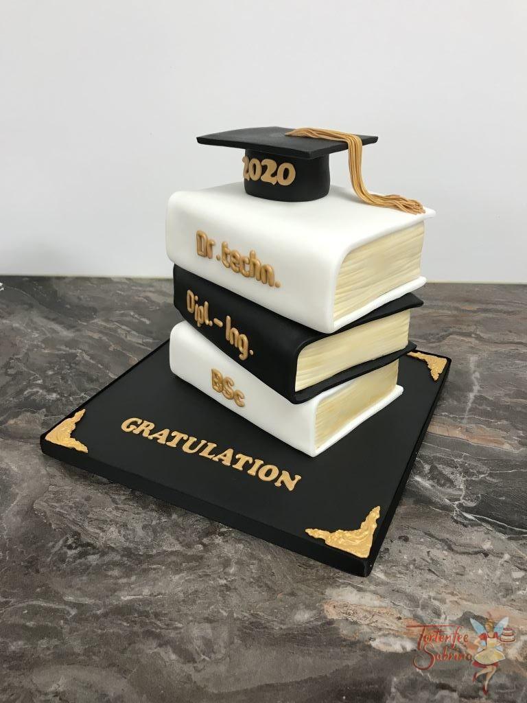 3D Torte - Dr. techn. Dipl.-Ing. Bsc. bei dieser Torte wurden 3 Bücher übereinander gestapelt, der Abschluß des Stapels ist der Doktorhut.