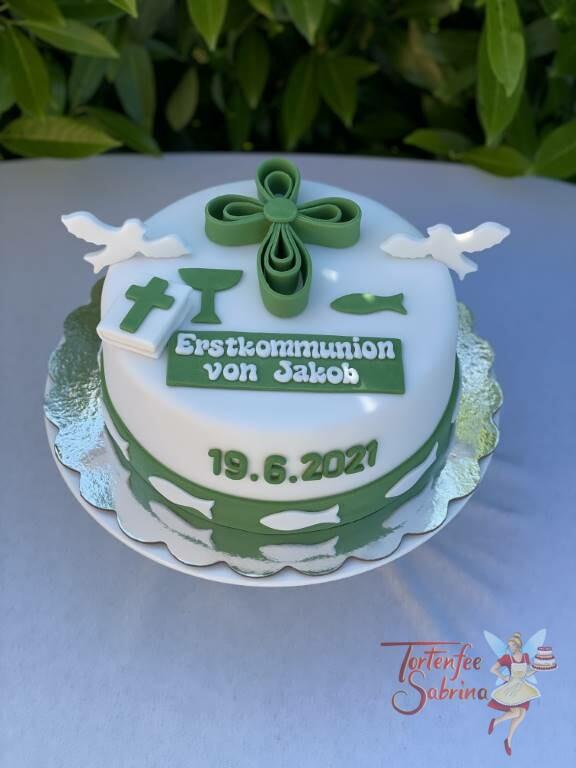 Erstkommunionstorte - Grünes Kreuz aus Schleifen mit Tauben, der Abschluss unten ist ein grünes Band mit Fischen.