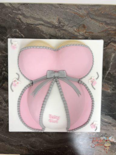 Babytorte - Babybauch mit rosa Kleidchem und grauer Schleife