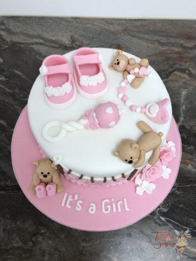 Babytorte - Bärenparty mit Rassel, Schnuller und Schuhen