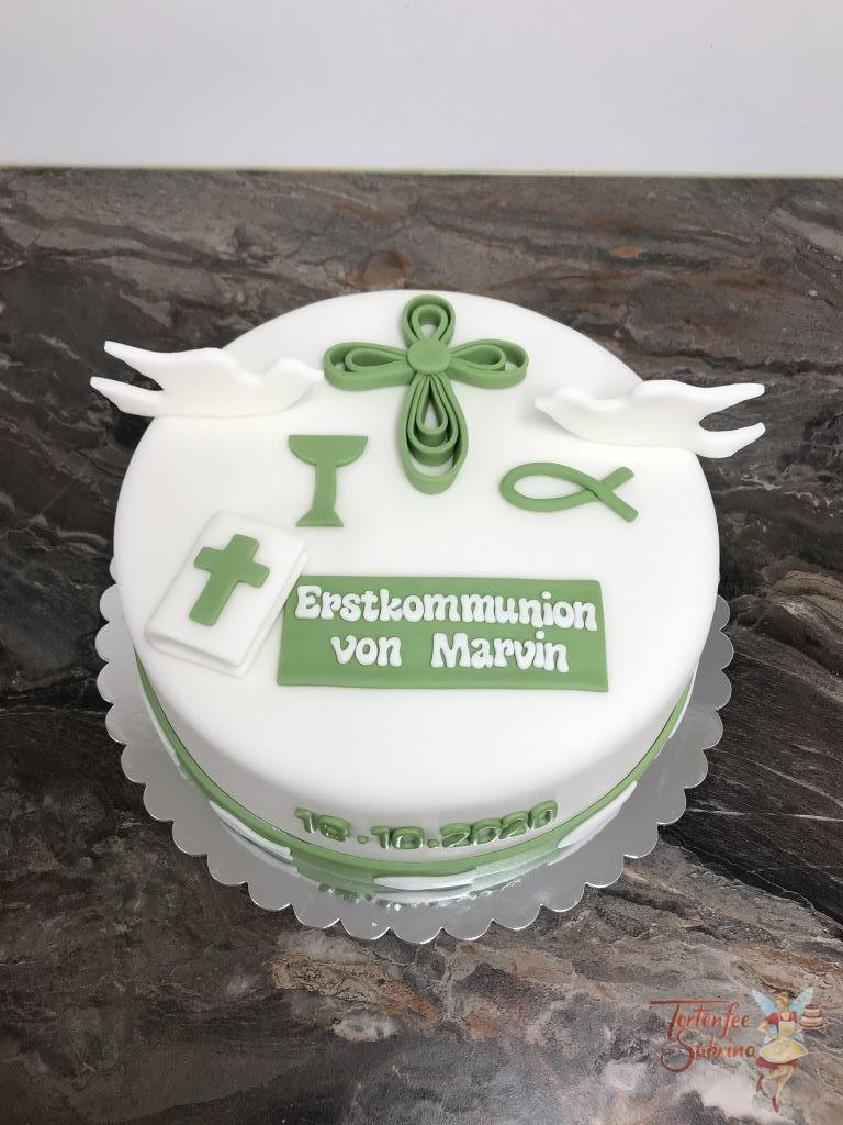 Erstkommunionstorte - Grünes Kreuz. Diese Torte wurde mit Tauben, Kelch, Bibel und Kreuz dekoriert, alles in der Farbe grün.