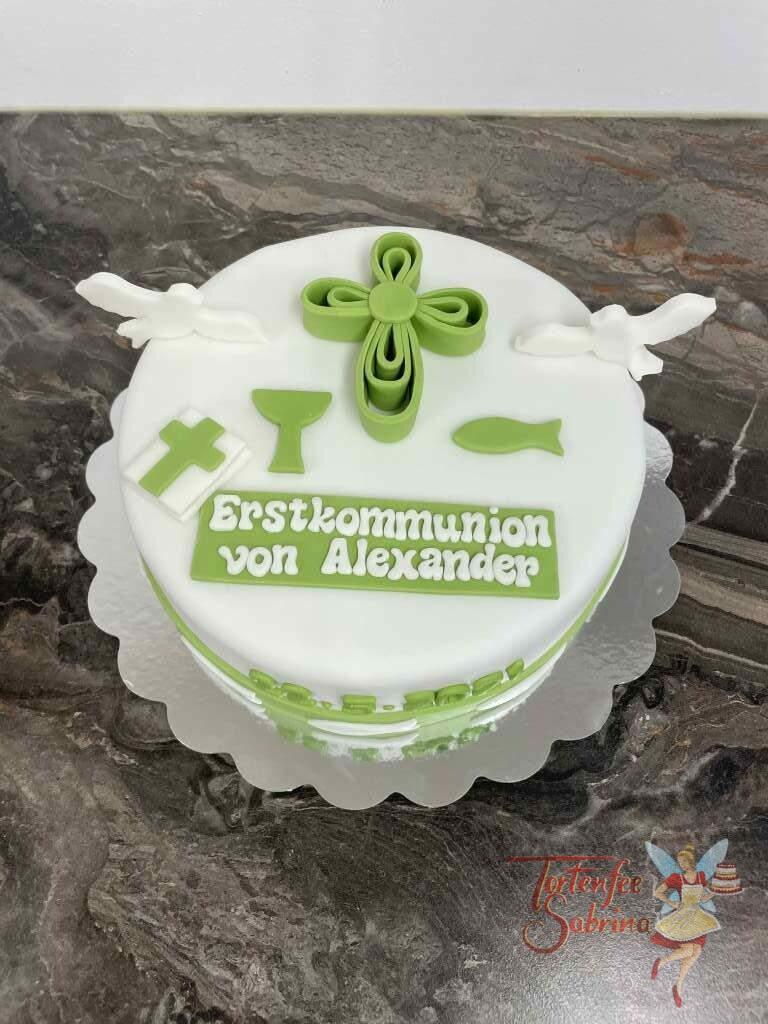 Erstkommunionstorte - Grünes Kreuz mit weißen Tauben und weiteren religiösen Symbolen wie der Bibel und dem Kelch.