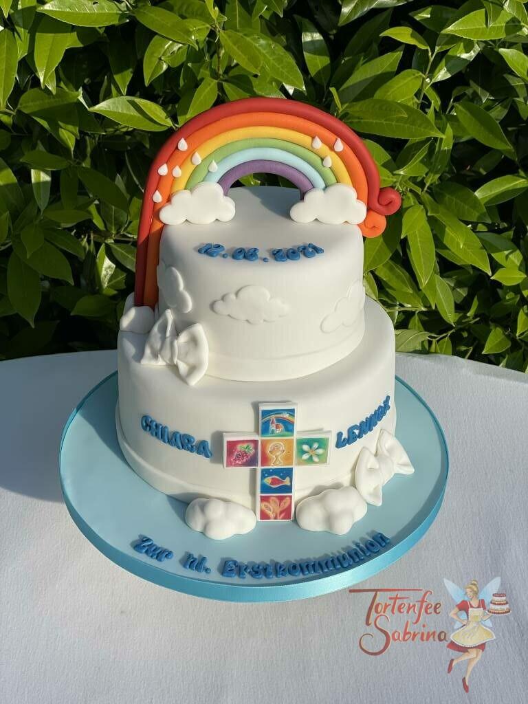 Erstkommunionstorte - Regenbogen und buntes Kreuz mit den biblischen Symbolen, dazu sind auf der Torte noch Wolken.