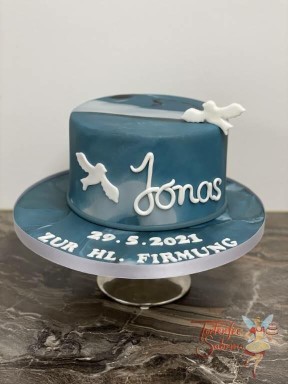 Firmungstorte - Blue and grey Marble in diesem Stil ist die Torte eingedeckt, ebenfalls zieren zwei Tauben die Torte.