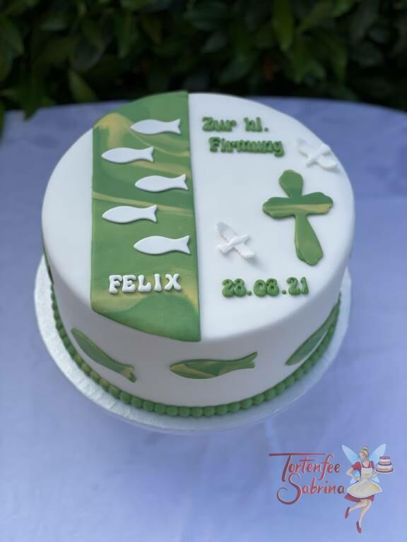 Firmungstorte - Grünes Kreuz in verschiedenen Grüntönen und ebenso Fischen und Tauben auf der Torte.