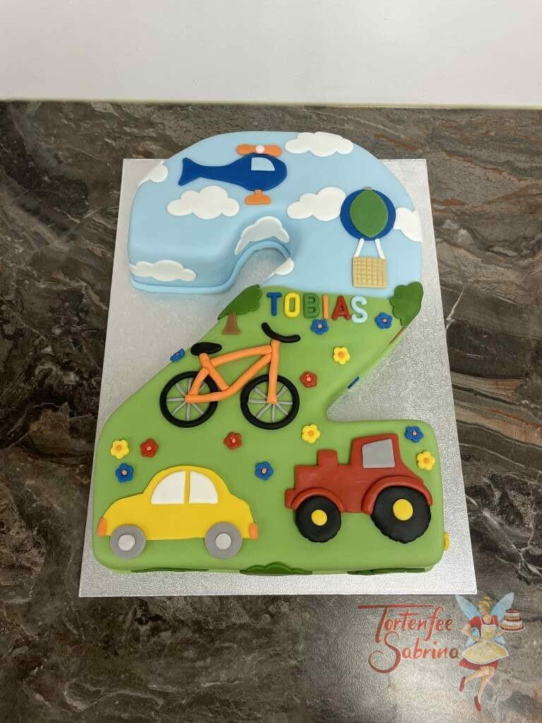 Geburtstagstorte Buben - 2er mit Fahrzeugen wie einem Traktor, Auto, Fahrrad, Hubschrauber und Heißlufballon.