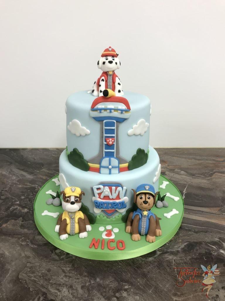 Geburtstagstorte Buben - 3 Fellfreunde mit Zentrale. Marshall, Chase und Rubble sind versammelt um die Paw Patrol Zentrale.