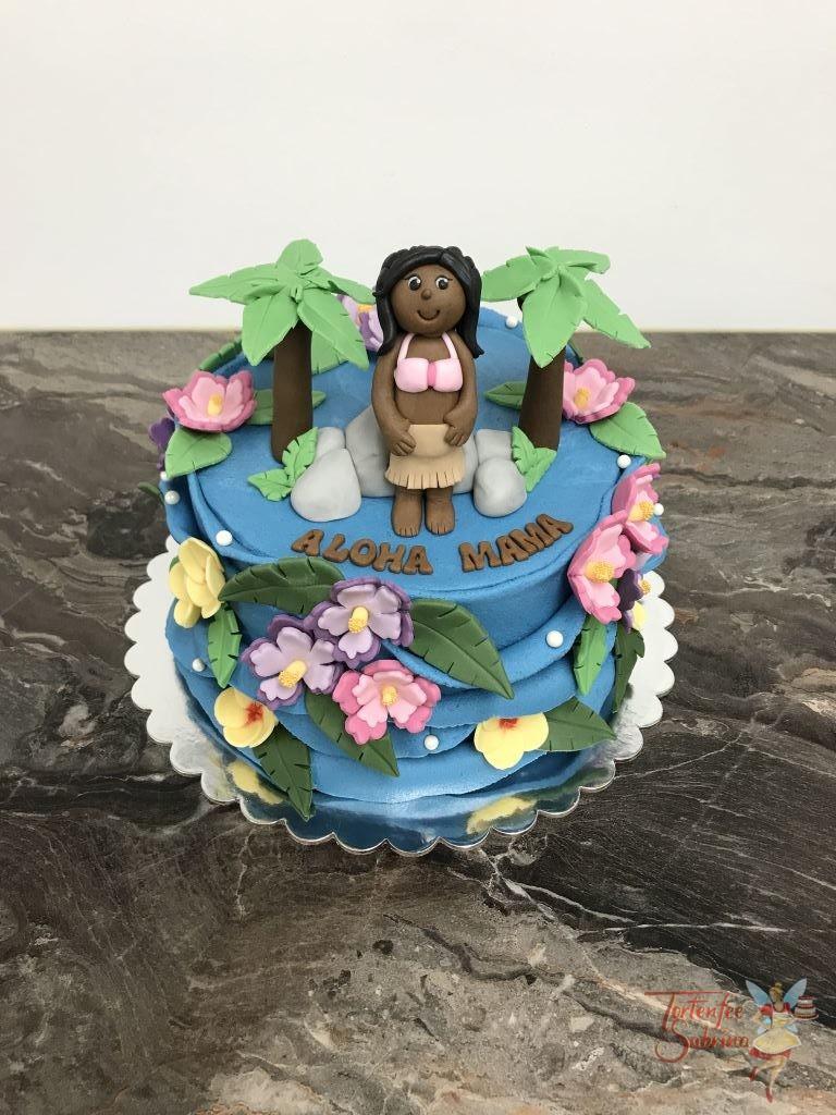 Geburtstagstorte Erwachsene - Aloha Hawaii, diese bunte Torte zeit Mama in mitten von Palmen, Meer und Blumenblüten.