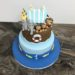 Geburtstagstorte Buben - Arche Noah mit Boot und Häschen mit vielen Tierpaaren wie Löwe, Zebra, Affe, Giraffe, Schaf und Vögel.