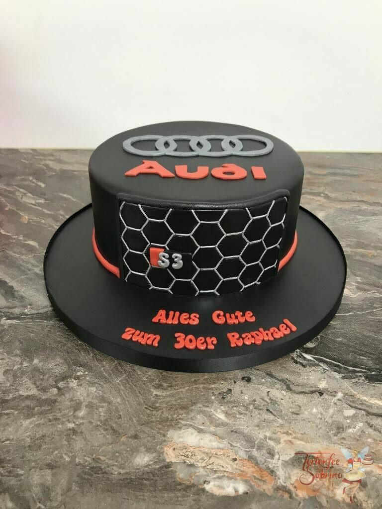 Geburtstagstorte - Audi S3 Kühlergrill wurde hier auf der Torte nachgebildet, die Torte ziert das typische Wabenmuster in silber.