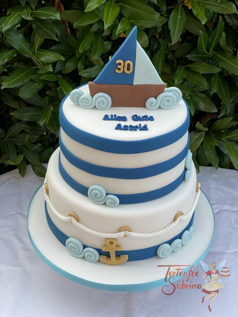 Geburtstagstorte Erwachsene - Auf hoher See ist dieses Boot unterwegs zwischen blauen Wellen und mit einem goldenen Anker.