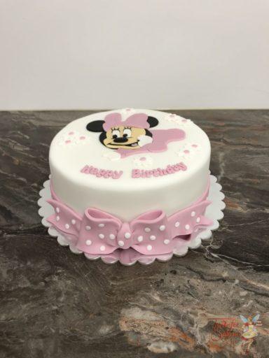 Geburtstagstorte Erwachsene - Baby Minnie Mouse mit Blumen und rosa Schleife