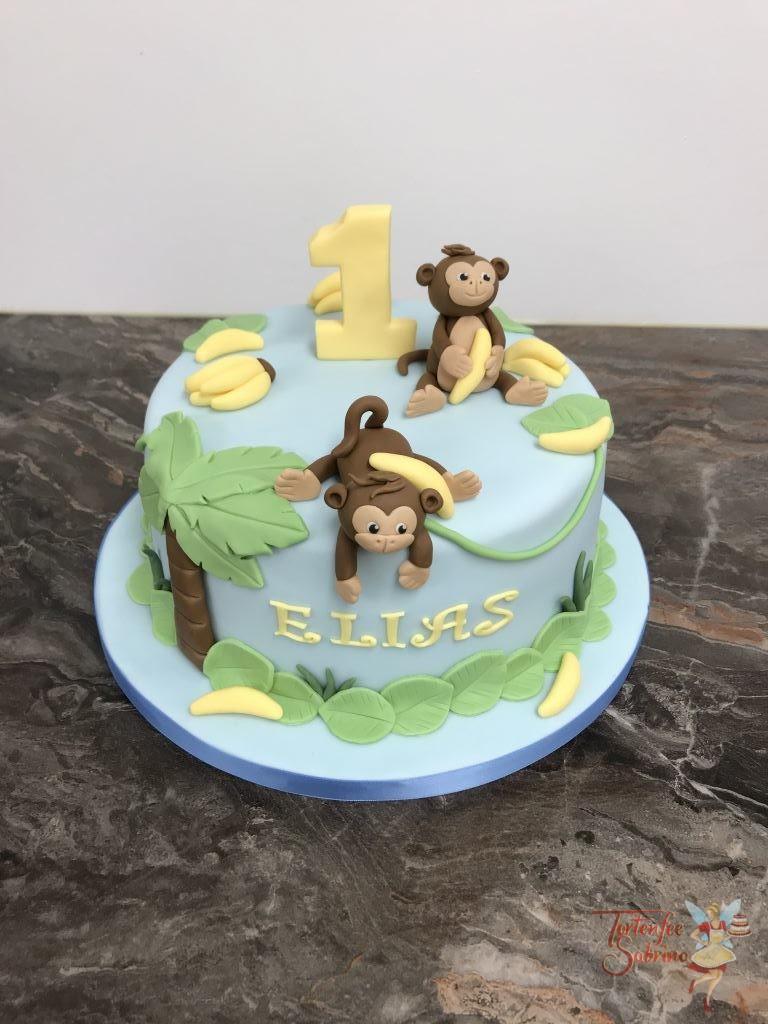 Geburtstagstorte Buben - Affenparty mit zwei Äffchen, Bananen und Palmen
