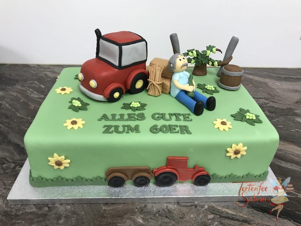 Geburtstagstorte Erwachsene - Der rastende Winzer mit seiner Erfrischung in der Hand. Abegrundet wird das ganze mit einem roten Traktor und Weinfaß