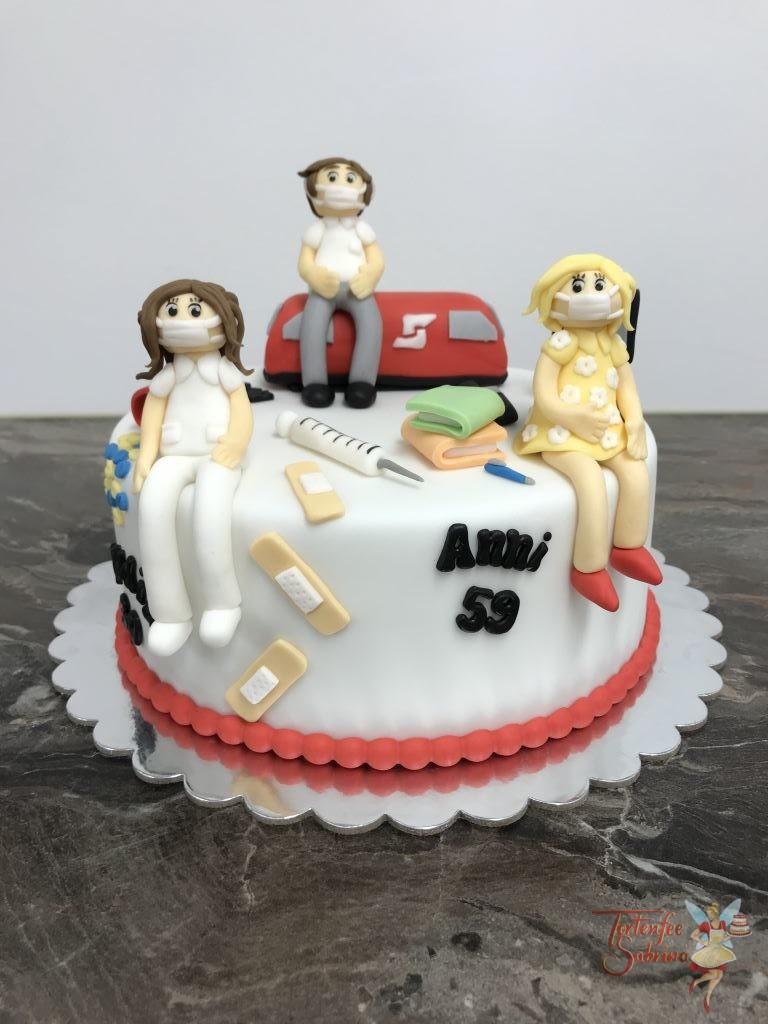 Geburtstagstorte Erwachsene - Die 3 Freunde bei der Arbeit als Krankenschwester, Bahnbediensteter und Büroangestellte