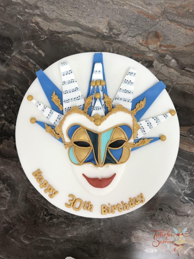 Geburtstagstorte Erwachsene - DJ Mask eine venizianische Faschingsmaske die von eine DJ getragen wird. Verziert mit Blau, Gold und Musiknoten.