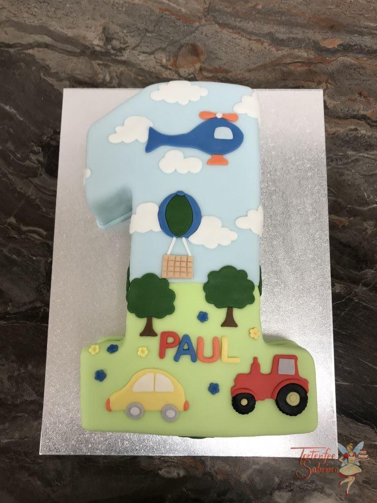 Geburtstagstorte Buben - Fahrender 1er mit einem gelben Auto, rotem Traktor, blauem Hubschrauber und einem Heißluftballon