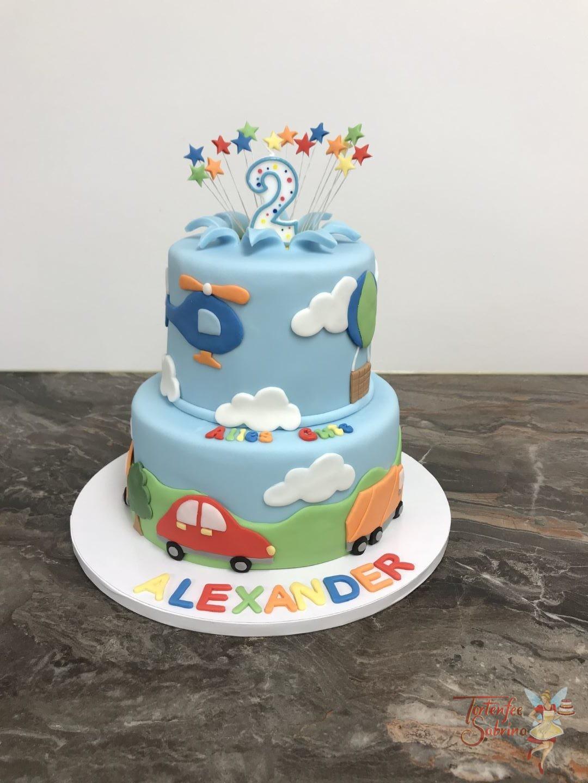 Geburtstagstorte mit Fahrzeugen und Helicopter