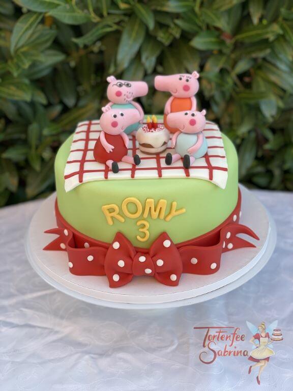 Geburtstagstorte Mädchen - Familie Wutz feiert mit Romy den 3ten Geburtstag auf der karierten Picknikdecke.