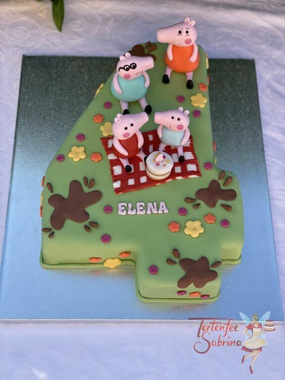 Geburtstagstorte Mädchen - Familie Wutz beim Picknik auf einer karierten Decke, die Torte wurde in der Form einer 4 gebacken.