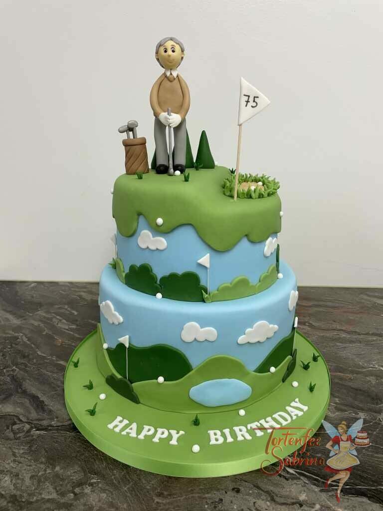 Geburtstagstorte Erwachsene - Golfspieler am Platz ist eine 2-stöckige Torte die einen großen Golfplatz mit Spieler und Schläger zeigt.