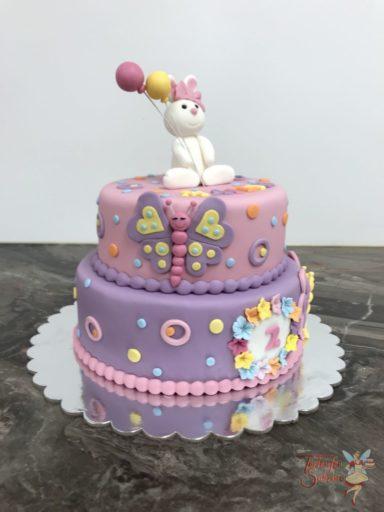 Geburtstagstorte Mädchen - Häschen mit Schmetterling und Blumen