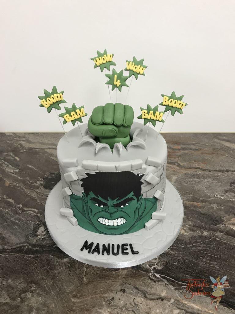 Geburtstagstorte Buben - Hulk mit der grünen Faust bricht durch die Decke, geschmückt mit Bam und Boom.