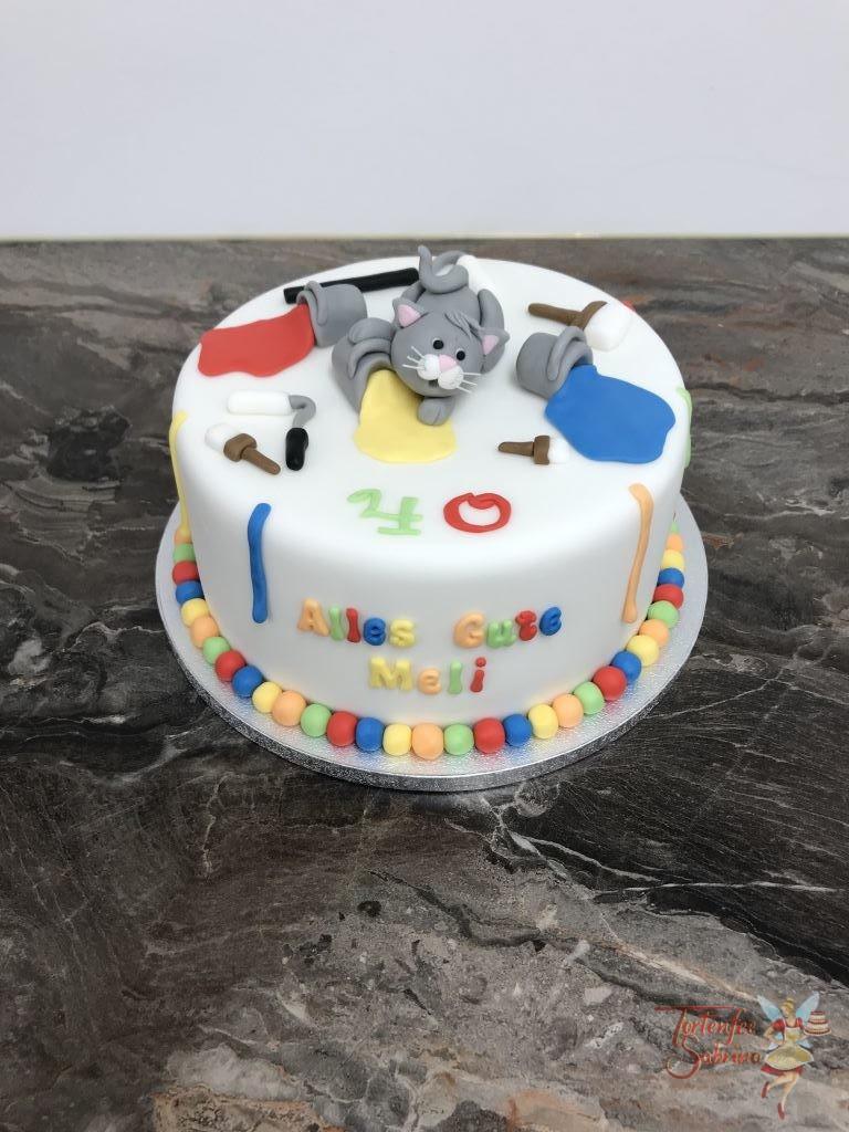 Geburtstagstorte Erwachsene - Katze als Malerin mit vielen bunten Farben und Werkzeugen