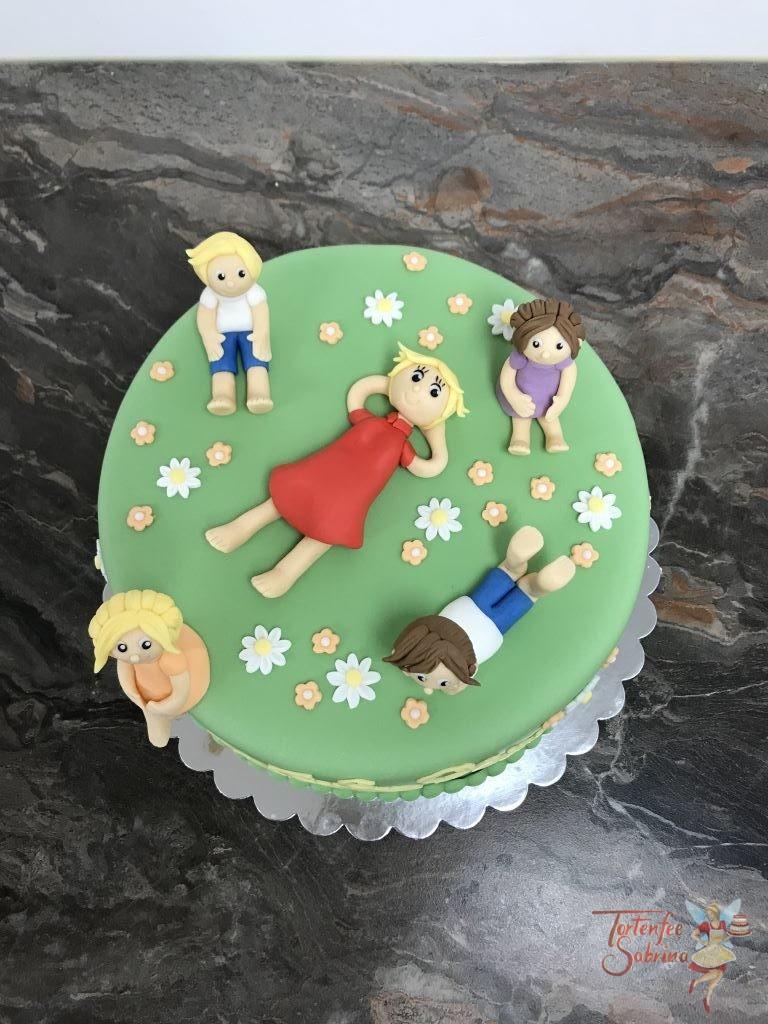 Geburtstagstorte Erwachsene - Kindergärtnerin im Blumengarten mit ihren Schützlingen