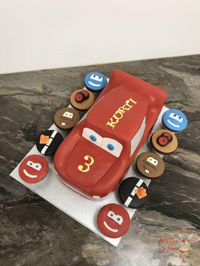 Geburtstagstorte Buben - Lightning McQueen in schönem Rot mit gelben Blitz