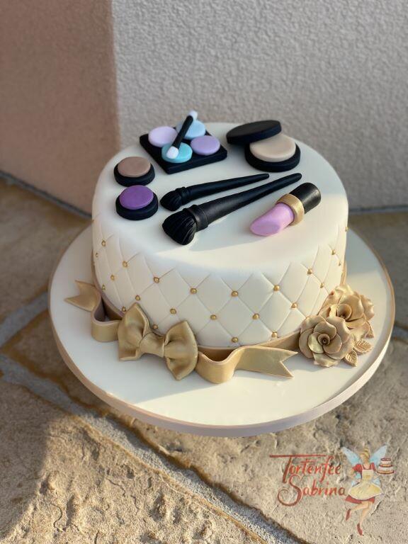 Geburtstagstorte Erwachsene - Lippenstift und goldene Rosen sind auf der Torte, ebenso ziert ein Rautenmuster die Torte.