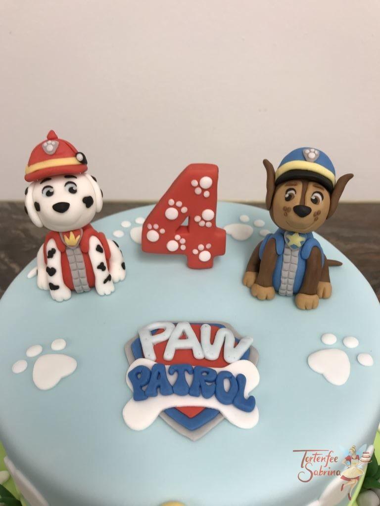 Geburtstagstorte Buben - Marshall und Chase von der Paw Patrol mit der Zentrale und vielen Pfotenabdrücken