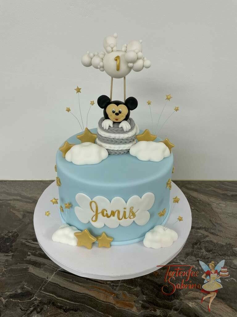 Geburtstagstorte Buben - Mickey Mouse über den Wolken und goldenen Sternen. Er sitzt in einem Ballonkorb und schaut hinaus.