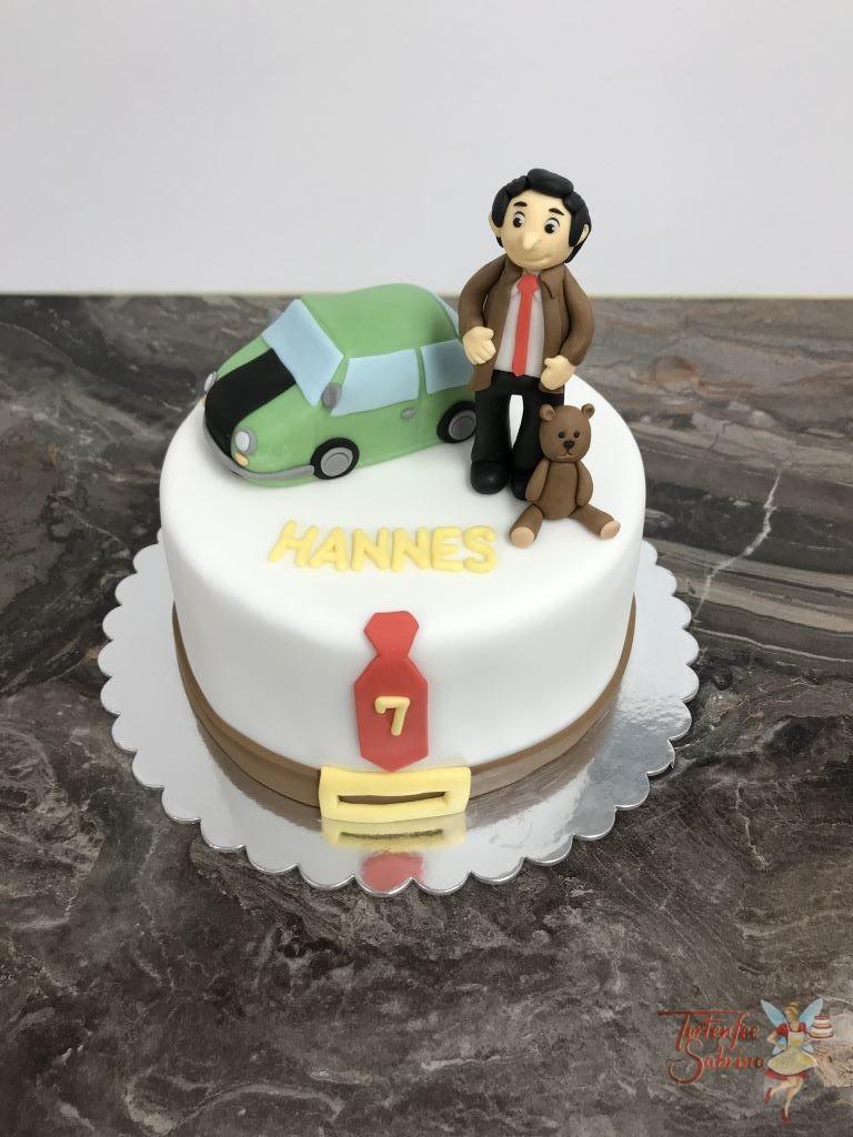 Geburtstagstorte Buben - Mr. Bean mit seinem grün, schwarzem Mini Cooper und natürlich seinem Teddy