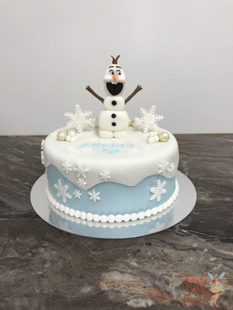 Geburtstagstorte Erwachsene - Olaf´s Schneeballparty. Verziert mit Schneeflocken und Schneebällen und Glitzerkugeln.