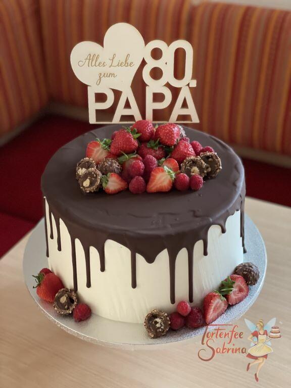 Geburtstagstorte Erwachsene - Papa´s 80er mit vielen süßen Früchten und einem persönlichem Cake Topper aus Holz.