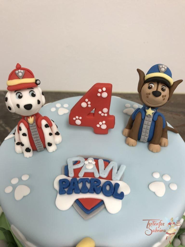Geburtstagstorte Buben - Paw Patrol mit Chase und Marshall bei ihrem Paw Patrol Tower