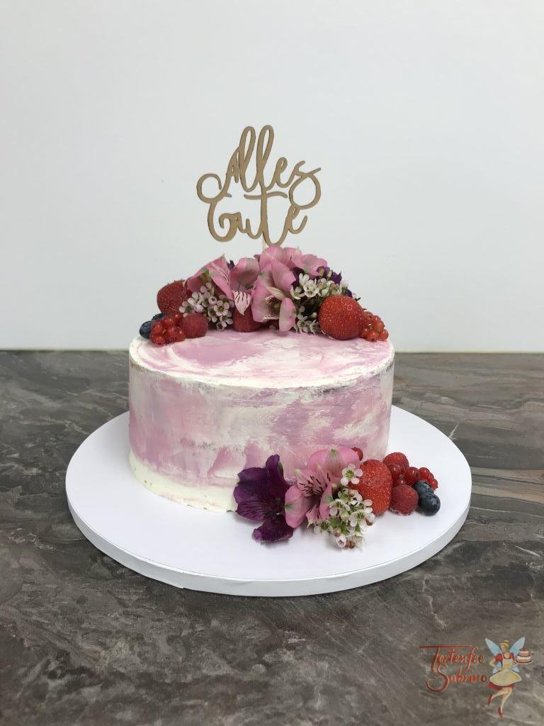 Geburtstagstorte Erwachsene - Pink Watercolor Stil Torte mit echter Dekoration aus süßen Früchten und Rosa Blumen sowie einem Cake Topper