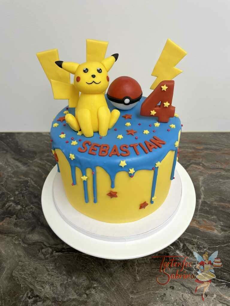 Geburtstagstorte Buben - Pokémon mit blauem Drip und Sternen in den Fraben rot und gelb. Mit auf der Torte Pikatchu und der Pokeball.