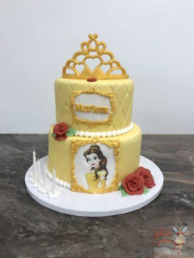 Geburtstagstorte Prinzessin Belle mit Krone und Rosen