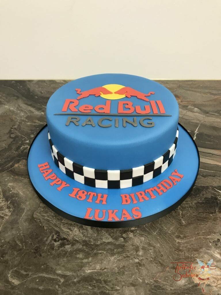 Geburtstagstorte Erwachsene - RB -Racing Torte, hier ziert der Schriftzug des Rennstalls Red Bull die Torte.