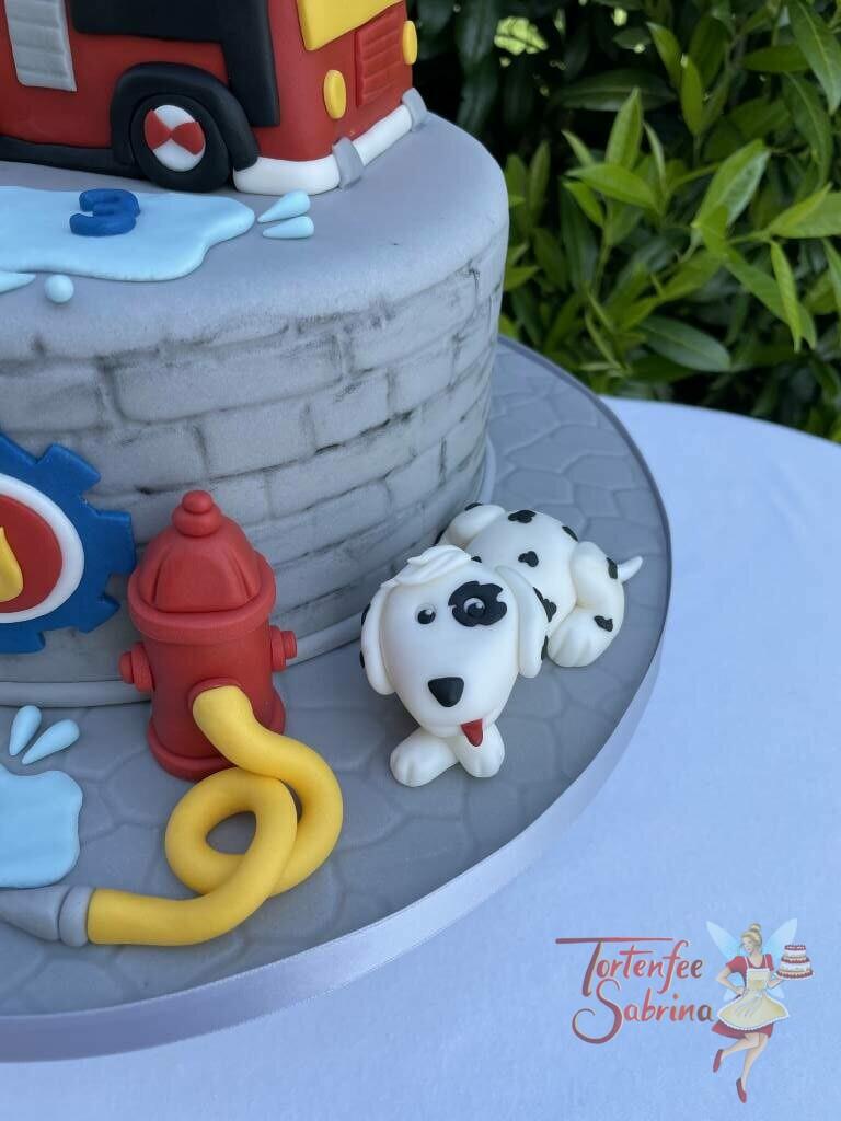 Geburtstagstorte Buben - Sam und Jupiter unterwegs, auf der Torte ist neben dem Fahrzeug, der Hund Schnuffi und ein Hydrant mit Schlauch.