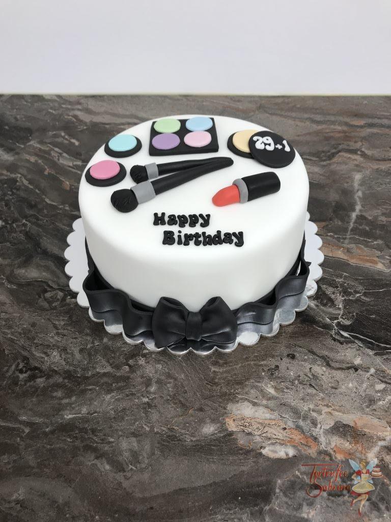 Geburtstagstorte Erwachsene - Schminkutensilien mit Pinsel und Lippenstiff