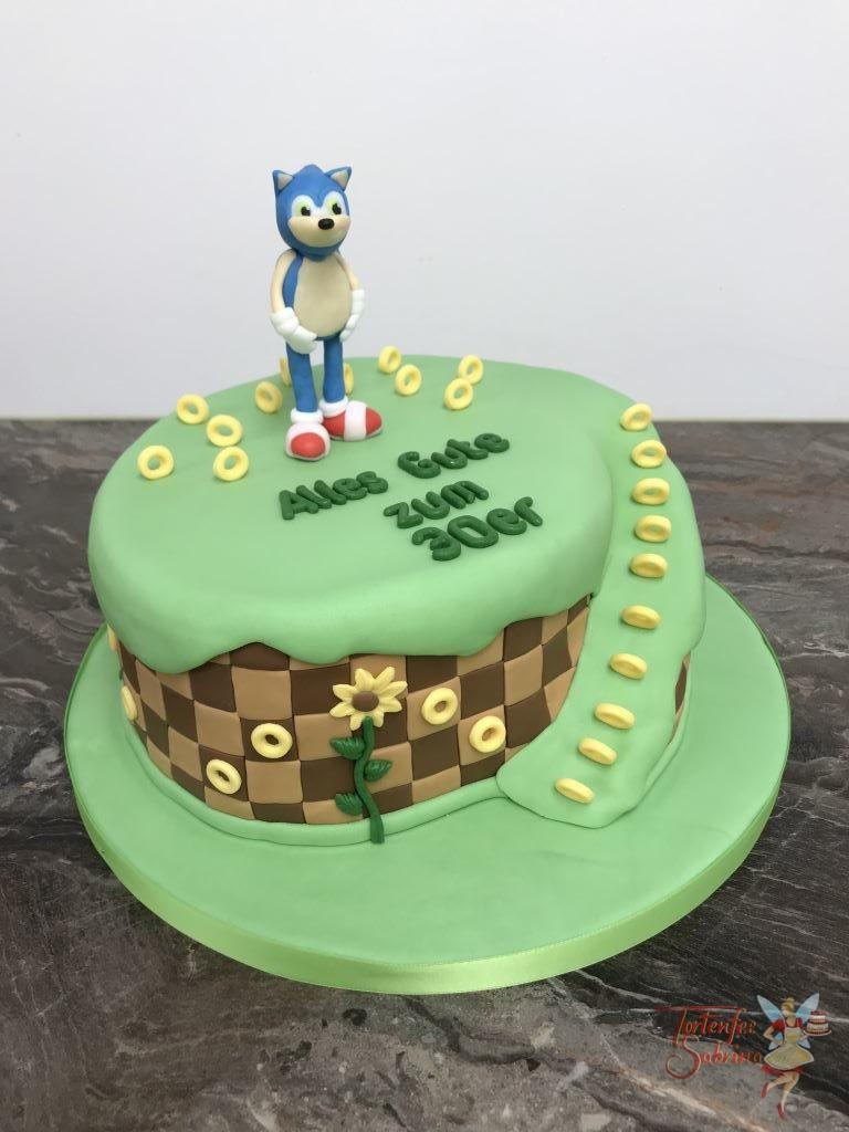 Geburtstagstorte - Sega´s Sonicin seiner bunten Spielewelt mit vielen goldenen Ringen