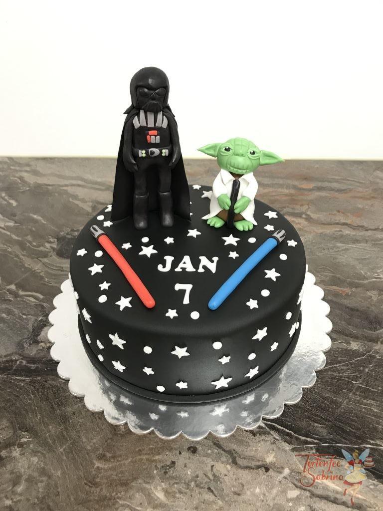 Geburtstagstorte Buben - Star Wars mit Darth Vader und Meister Yoda