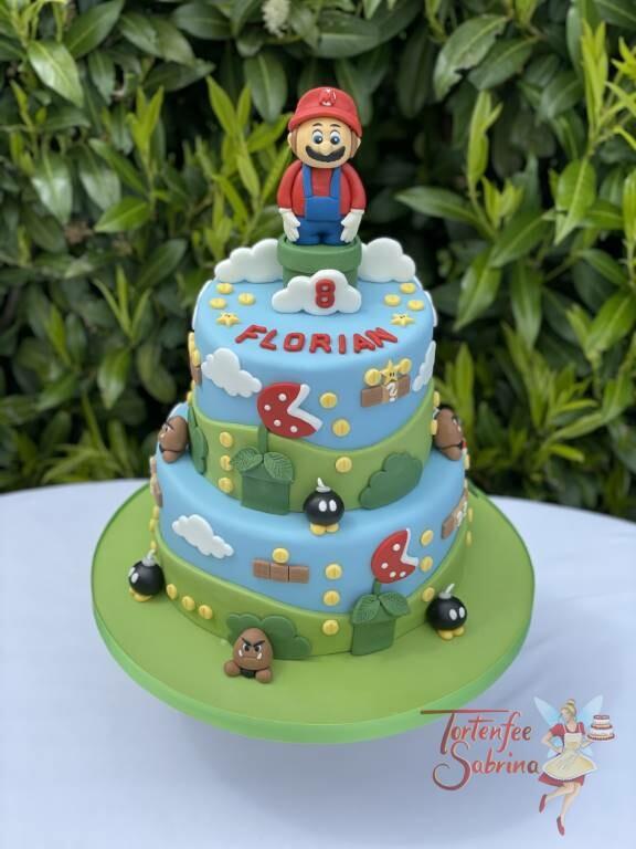 Geburtstagstorte Buben - Super Mario und die Gumbas sind auf dieser 2-stöckigen Torte zu finden.