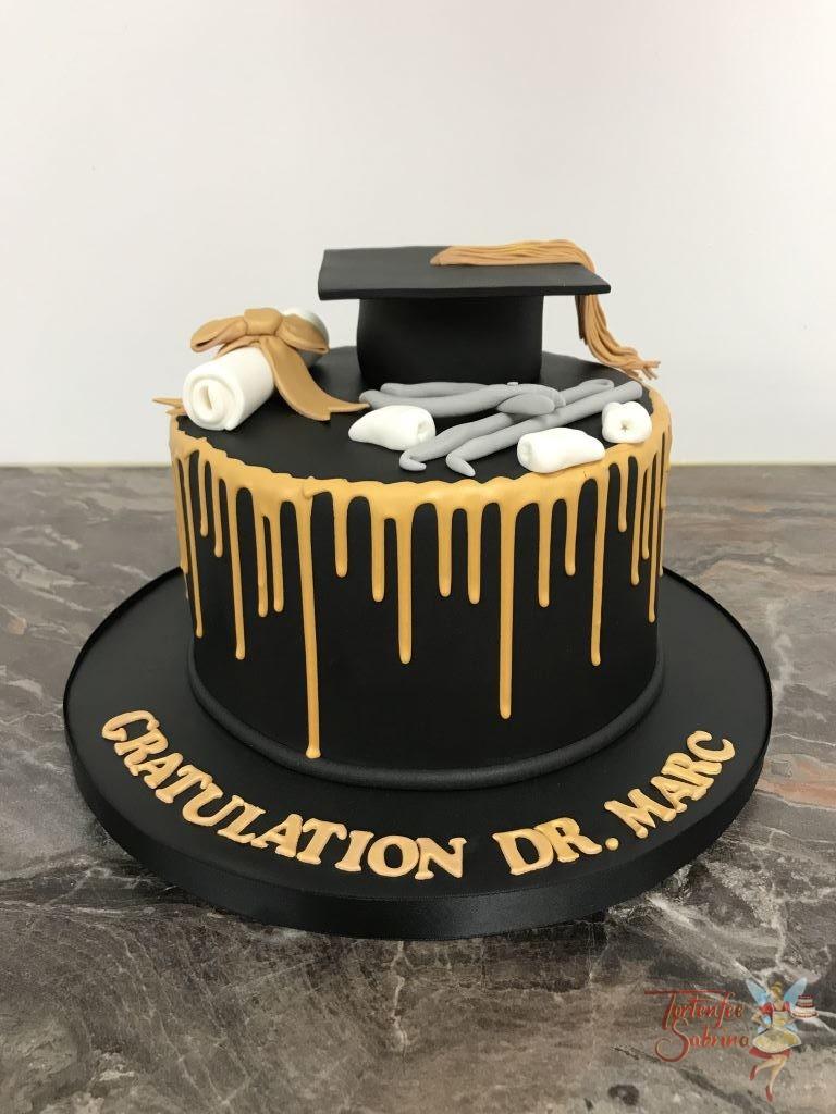 Geburtstagstorte Erwachsene - Zahnarzt mit Diplom. Schwarzer Drip Cake mit goldenem Drip, Urkunde und Hut.
