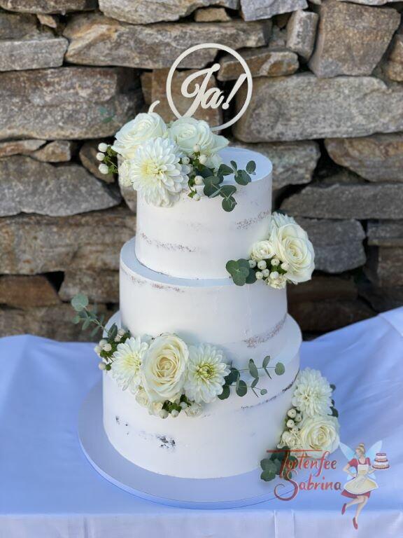 Hochzeitstorte - Pärchen sagt JA! Diese Torte wurde mit Rosen und Dahlien verziert, ganz oben auf der Torte der Cake Topper.