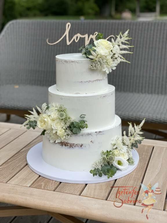 Hochzeitstorte - Rosen mit Eukalyptusblättern wurden zu Sträußen gebunden und dekorieren die Torte sowie der Cake Topper.