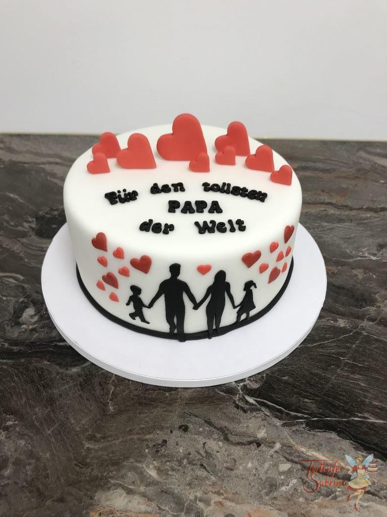 Jahrestagstorte - Alles Liebe zum Geburtstag mit vielen Herzen und den Silhouette von der Familie